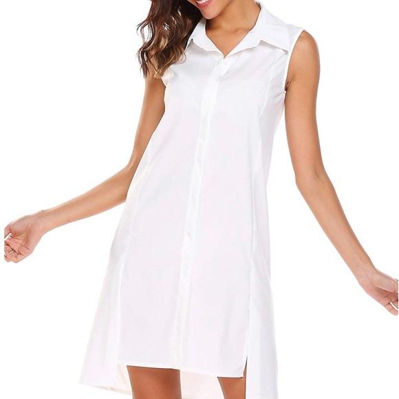 Finejo Dresses & Skirts - SHESHOW Finejo sleeveless white shirt dress